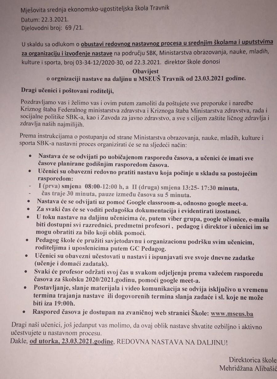Obavijest o organizaciji nastave na daljinu od 23.03.2021. godine