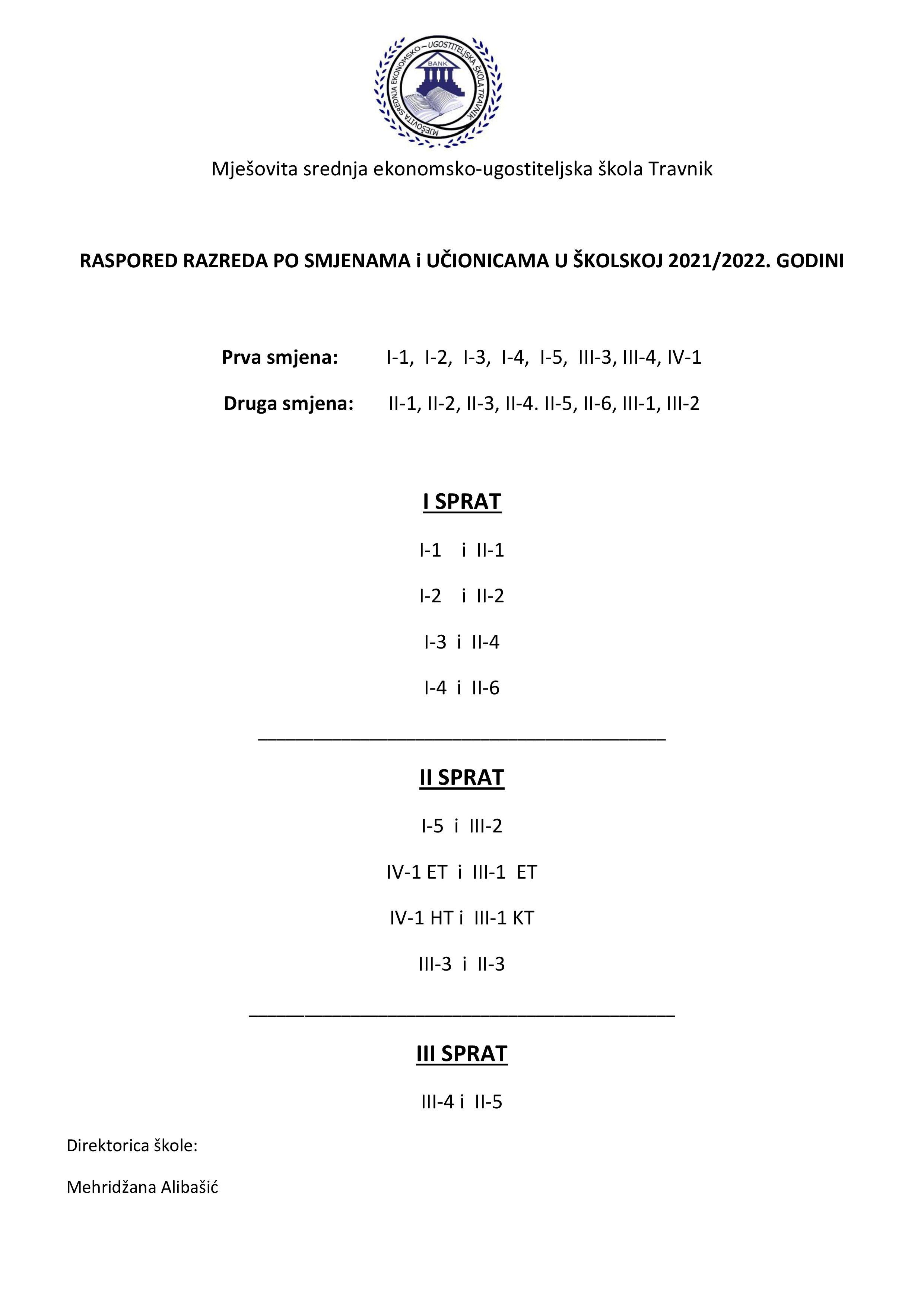 Raspored razreda po smjenama i učionicama
